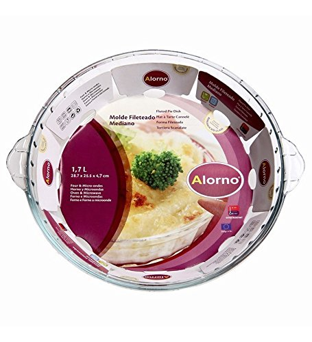 Alorno Alorno Borosilicate Glass, Easy Hands, Fluted Pie Dish, 1.7 Ltr
