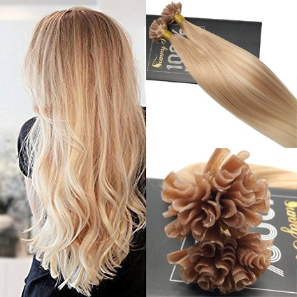 Sunny 1g/s 50Strands Cold Fusion Extensions Human Hair Balayage Highlight Blonde Straight Nail Tip Remy Hair Extensions 14inch