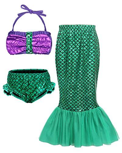 Traje de Baño de 3 Piezas para Niña Disfraz Sirena Princesa Natación Nadar Pequeñas Conjunto Mermaid...