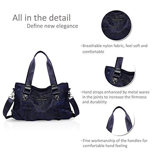 Nicole & Doris Donna Borsa A Tracolla Borsa A Tracolla Borsa A Tracolla Grande Capacità Leggera Impermeabile Nylon Camouflage Nero Blu