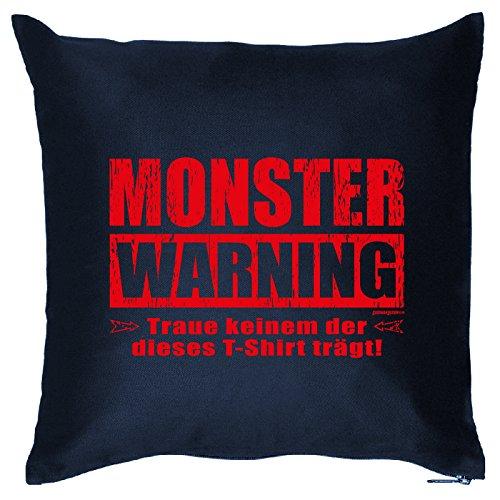 Kissen mit Halloween Motiv: Monster Warning. Traue keinem... - Halloween Deko für das Wohnzimmer - Couch - Sofa - (Ideen Halloween Kostüm Keine)
