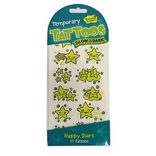 Peaceable Kingdom TA38 Leuchten in Den Dunklen Tattoos - glückliche Sterne (Eidechse-kostüm Erwachsene Für)