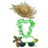 Déguisement accessoires hawaïen vert du parfait vacancier avec un chapeau en paille + un collier de fleurs + une paire de lunettes pour adulte. Idéal pour les enterrements de vie de garçon ou de jeune fille.