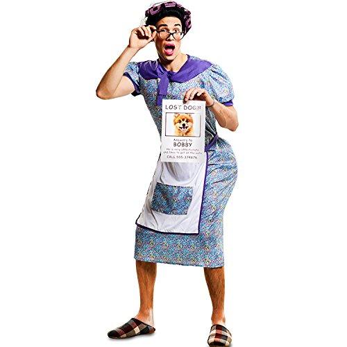 Alte Oma Kostüm - EUROCARNAVALES Herren Kostüm verzweifelte Oma Sucht Hündchen Gr. M/L Hausfrau Dicke Oma Karneval Spasskostüm Joke