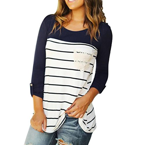 Langarm-Shirt, Huihong Frauen beiläufige Hülse mit drei Vierteln Oansatz Farbblock Streifen Taschentops Pullover Bluse Outdoor-Sportbekleidung Sweatshirt T-Shirt (Marine, M) (Frau T-shirt Mit Weißem Armee)