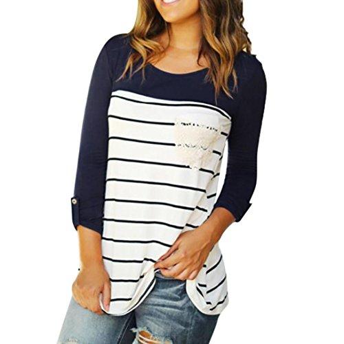 Langarm-Shirt, Huihong Frauen beiläufige Hülse mit drei Vierteln Oansatz Farbblock Streifen Taschentops Pullover Bluse Outdoor-Sportbekleidung Sweatshirt T-Shirt (Marine, M) (Armee-mama T-shirt Langarm)