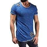 Bluestercool Hommes Fashion Col Rond Manches Courtes Trou T-Shirt Hauts Grande Taille (M, Bleu)