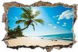 DesFoli Strand Meer Palmen 3D Look Wandtattoo 70 x 115 cm Wanddurchbruch Wandbild Sticker Aufkleber D321