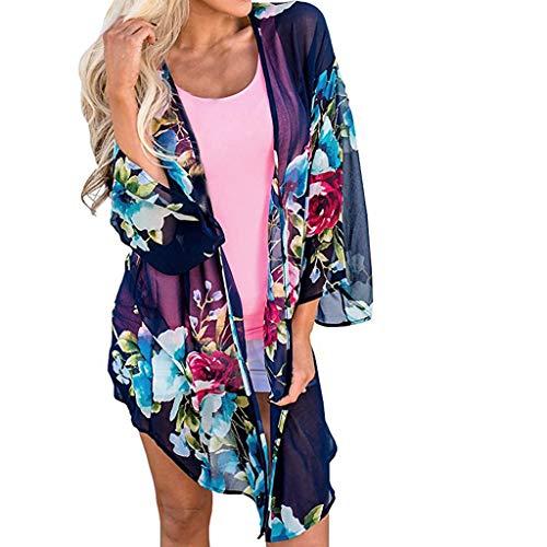 B-COMMERCE Frauen Chiffon Badeanzug Bikini Badeanzug Blumendruck vertuschen Bademode Strandkleid Lange Kimono Cardigan Jacke Robe -