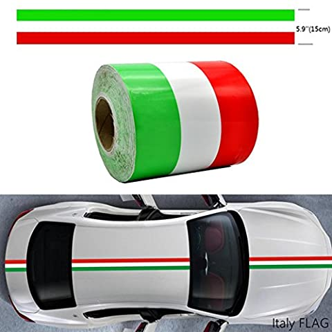 AZQKJ 1M Italy flag Color Racing Car Body Side Stripe Decal Sticker For Most car or Interior