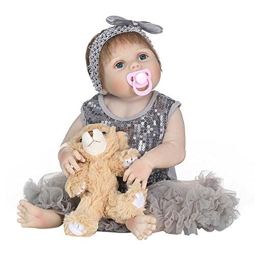 Oshide volle Silikon Körper Real Touch Baby waschbar lebensechte Reborn Puppen realistische Neugeborenes Baby Doll (Silikon-körper Baby Puppen Reborn)