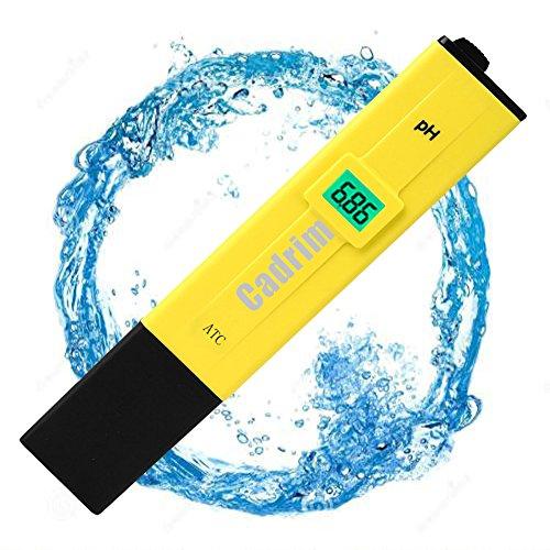 pH Messgerät, Cadrim Digital pH Meter 0,00-14,00 pH Messbereich Wassertester für Aquarium, Pool, Labor, Urin usw.-Gelb