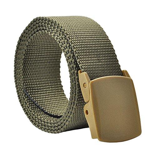 Faleto Herren Damen Guertel Freizeit Herrenguertel Damenguertel aus Leinwand Canvas Belt mit Kunststoff Schnalle 123CM-130CM Militär Grün #01 (Kunststoff-leinwand Einfache)