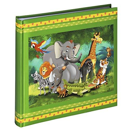 Hama Fotoalbum Jungle Animals (Kinder Fotobuch mit 50 Seiten, für 100 Fotos im Format 10x15, buntes Dschungel-Motiv mit Tieren, 25x25cm) Bilderalbum grün