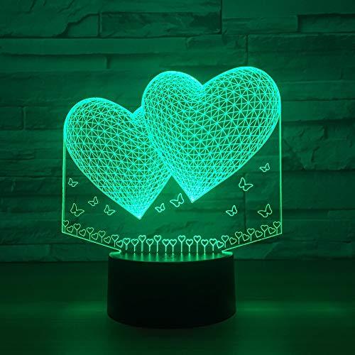 GUANGYING Luz Nocturna Globos Doble Forma De Corazón 3D Atmósfera Romántica Iluminación De La Lámpara Decoración De La Boda Amantes Pareja Regalo