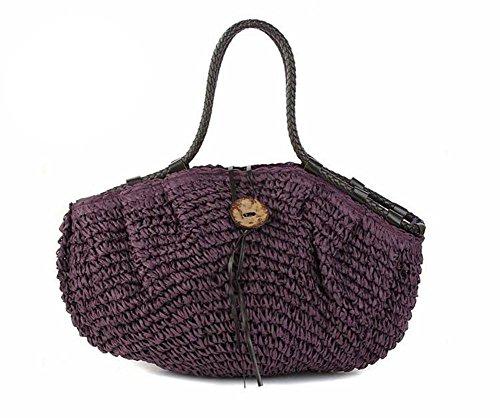 Borsa a tracolla di paglia della spalla Sacchetti di lavoro a maglia tessuti a maglia delle signore di estate Tote di estate della spiaggia di viaggio dell'annata , red Purple
