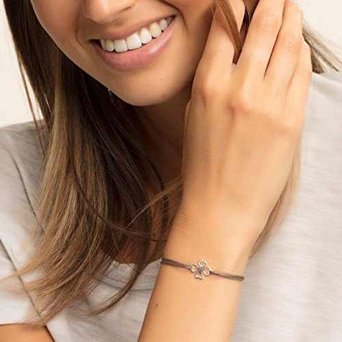 Thomas Sabo Damen-Armband Little Secrets Kleeblatt 925 Sterling Silber Grau LS017-173-5-L20v