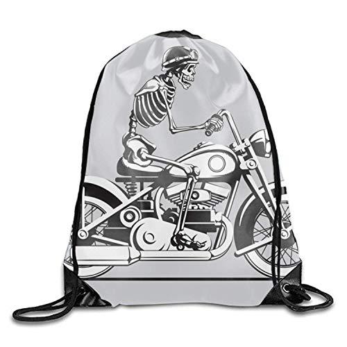 (ERCGY Skeleton Biker Drawstring Backpack Gym &Travel Bag)