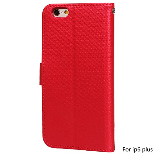 xhorizon Luxus Bling Strass Diamanten Handy Schutzhülle mit Blumentextur aus PU-Leder, Umklappbare Brieftasche-Schutzhülle mit Kartensteckplätzen für iPhone 6 Plus / iPhone 6S Plus (Stift in Feder Sti Rot