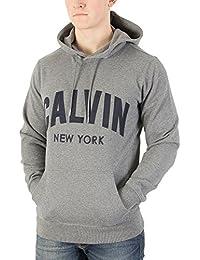 Calvin Klein Jeans Hombre Sudadera con capucha Hikos Graphic Pullover, Gris