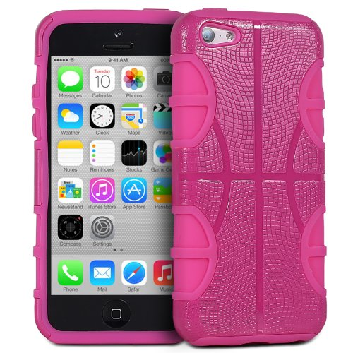 Fosmon HYBO-BBALL Abnehmbar Hybride Silicone + PC Case Cover hülle für iPhone 5c - Rosa / Rosa rose