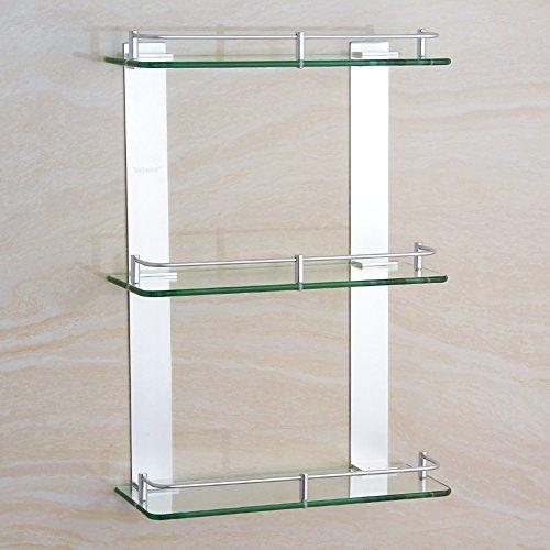 Handtuchhalter Space Aluminium drei Glas Regal Badezimmer Badezimmer Badezimmer quadratischen Stauraum Badezimmer Plattform Stand (Größe optional) Badezimmer Wand hängen ( größe : 400mm ) (Glas-plattform Quadratische)
