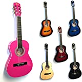 Rio 3/4 Size Pink Classical Guitar Pack For Kids beginners - Suit 9 To 12 Years - Inc Bag, Strap, Picks, Pitch Pipes - New