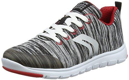 Geox j xunday l, scarpe da ginnastica basse bambino, grigio (lt grey/red), 29 eu
