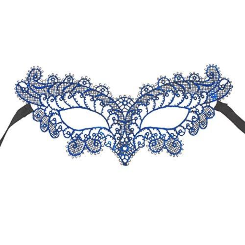 Malloom® Maskerade Spitze Maske Catwoman Halloween Schwarz-Ausschnitt-Abschlussball -Partei-Maske Zubehör (Blau) (Masquerade Kleid Schwarz Mit Blau)