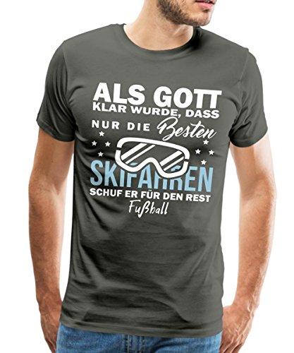 Spreadshirt Nur Die Besten Fahren Ski der Rest Spielt Fußball Männer Premium T-Shirt, L, Asphalt