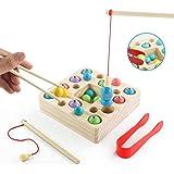 jerryvon Juego De Pescar para Niños - Juguetes Montessori Bebe Madera Peces Juguete Magnetico Infantil Juguetes Educativos Ap