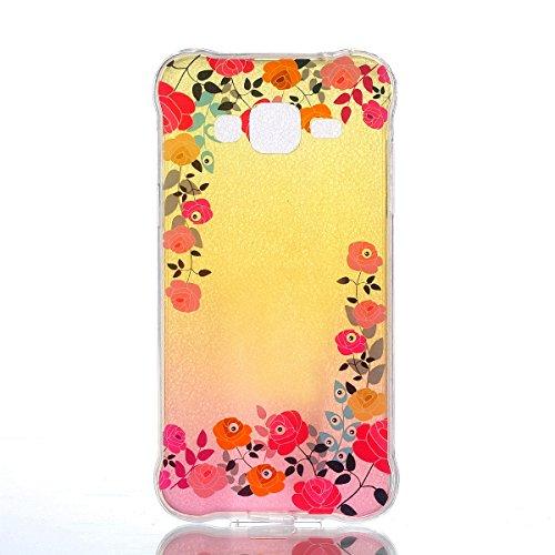 Coque Samsung Galaxy J3 Glitter, Samsung Galaxy J3 2016 Coque Brillante, SainCat Ultra Slim TPU Silicone Case pour Samsung Galaxy J3/J3 2016, Glitter Bling Diamante Strass Anti-Scratch Soft Gel 3D Hou Roses