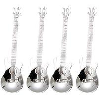 4 Pcs Guitare Cuillères à café, Acier Inoxydable Instrument Guitare en Forme de Cuillères à Café,Ustensile Créatif Set…