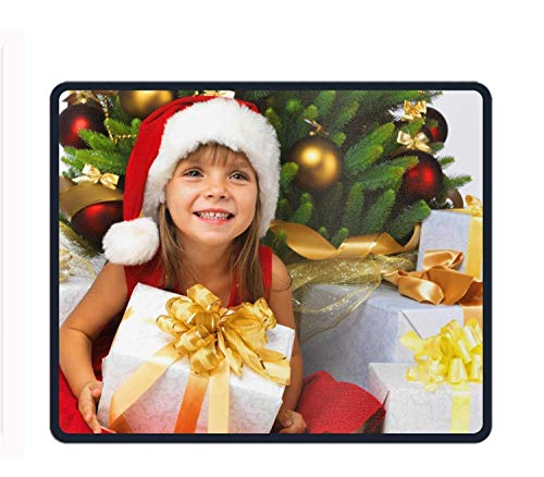 Holiday Christmas Santa Hat Ornaments Gift Girl Child Mouse Pad Customized Rectangle Non-Slip Rubber Mousepad for Gaming