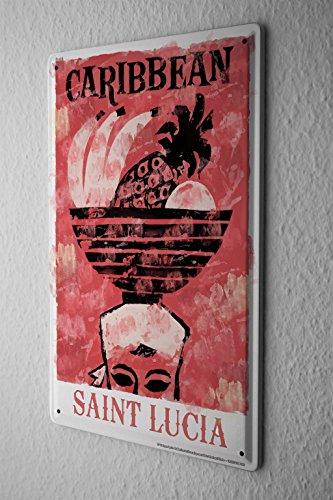 Blechschild Welt Reise Saint Lucuia Karibik Obstschale auf Kopf Wand Deko Schild 20X30 cm