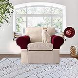 KOBWA Stretch-Armlehnenbezüge Sofa-Armlehnenschoner für Sessel, Sofas, Rutschfeste Sessel, schmutzabweisend, Dicker Stoff für Sofa Couch Möbel Burgundy, 2er Set