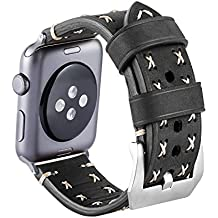 Armband für Apple Watch Series 3 Series 2 Series 1, MroTech iWatch Apple Watch Armband Edelstahl Leder Ersatzarmband Uhrenarmband für Apple Watch Sport Edition Nike+ alle Versionen