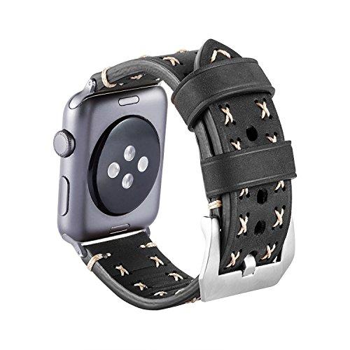 Nike Plus Watch (Armband für Apple Watch, MroTech Leder Armband Vintage Uhrenarmband für Apple Watch Sport/Edition Series 1, Series 2, Series 3 und Apple Watch Nike+ (Schwarz, 42mm))