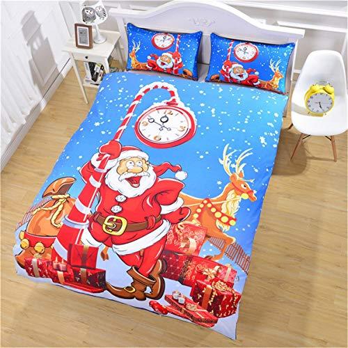 s Eve, Santa Claus mit Einem Rentier unter der Uhr ist aus dreiteiligen Betten gesetzt. (Size : 228×264.) ()