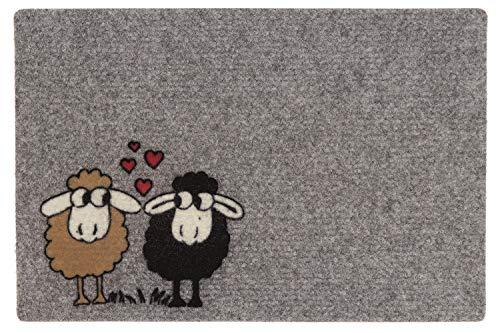 Flocky Motiv Fussmatte - Fußmatte - Teppich - Sauberlaufmatte - Fußabstreifer - Türmatte - Fußmatte - Schmutzfangmatte - verschiedene Designs - Größe 40 x 60 cm (Schafe mit Herz)