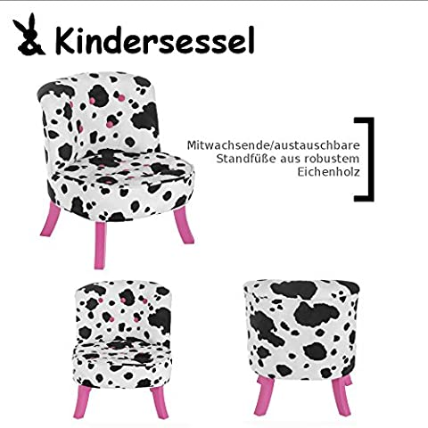 Kindersessel|mitwachsend|im Exclusiven Barock Design|Farbe/Muster: Kuh|Bein-Farbe: pink |Sitz-höhe:26/ 34 cm Somebunny