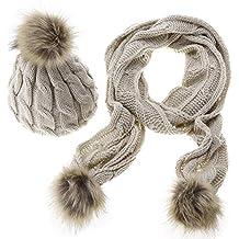 Amazon.es  gorros de lana con pompon - Beige 89470a7d0ea