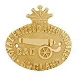 Autofy Brass CAD Cannon Badge with Crown for Royal Enfield All Models and Other Bikes (Gold)
