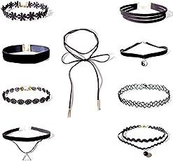 Shining Diva Fashion Jewellery Party Wear Black 9 pc Combo Stylish Choker Necklace Set for Women and Girls(cmb273)