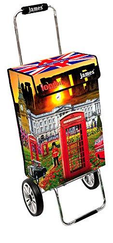 James Einkaufstrolley Design LONDON deluxe, moderner Einkaufswagen, bunter Lifestyle Shopper, Trolly, Rollkoffer, 40kg Tragkraft, klappbar, made in EU!