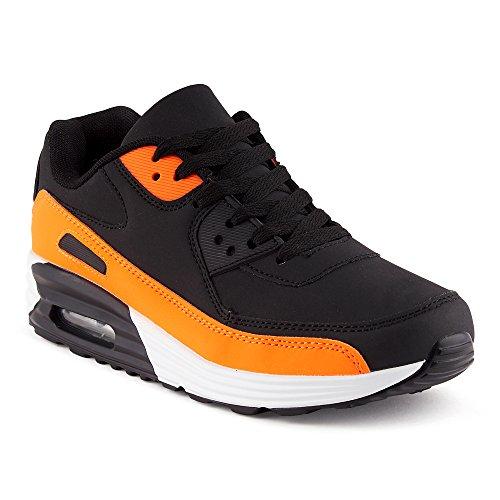 Fusskleidung Herren Damen Sportschuhe Dämpfung Neon Sneaker Laufschuhe Runners Gym Unisex Schwarz Orange EU 43