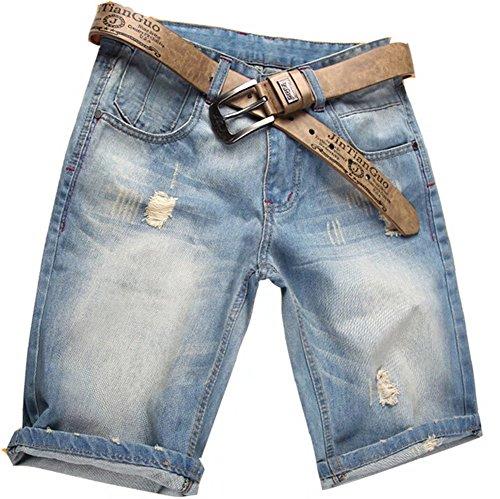 Valuker Herren Denim Bermuda Jeans Shorts Sommer Kurze Hose hellblau Ohne Guertel W40