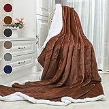 Awenia Flauschige Kuscheldecke 150x200cm Braun Decke mit super weiche Sherpawoll, Zweiseitige Flauschige Sofadecke, Warm & Weich Mikrofaser Fleece Decke Überwurf für Sofa und Bett