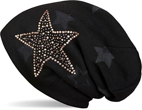 styleBREAKER warme Feinstrick Beanie Mütze mit All Over Stern Muster, Strass Stern und sehr weichem Fleece Innenfutter, Unisex 04024084, Farbe:Schwarz