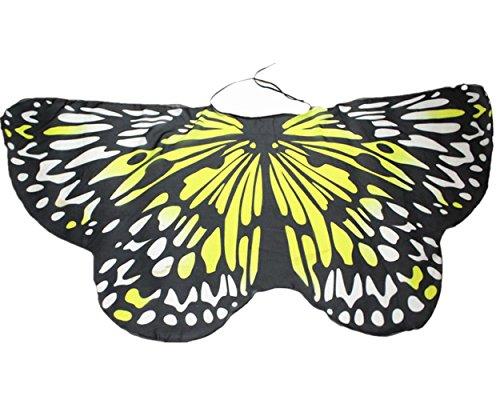 Overdose Damen Faschingskostüme Kinder Mädchen Jungen Butterfly Wing Cape Schmetterling Flügel Kostüm Schmetterlingsflügel Erwachsene Karneval Kostüm Kimono Schal Cape Tuch (147*68CM, B-Yellow 1)